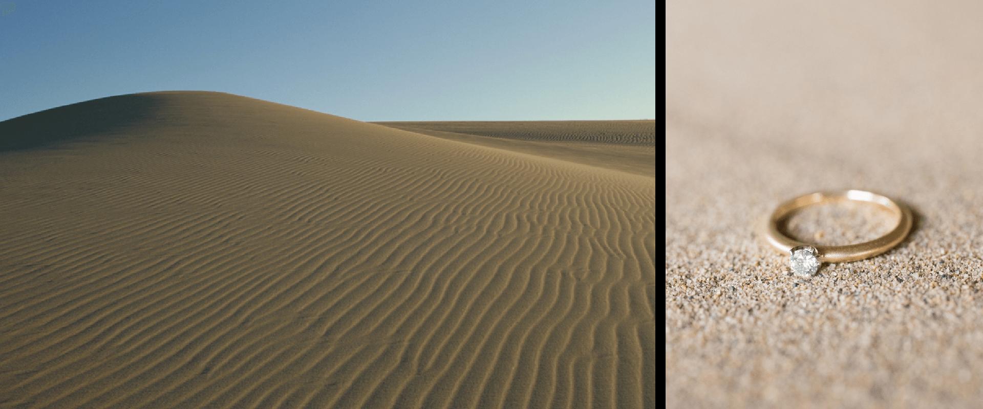 南北2.4km、東西16kmに広がる日本最大級の砂の丘「鳥取砂丘」。言わずもがな、ふるさと鳥取の象徴とも言える場所です。私たちにとって特別なこの場所を思い描き、形にしたブライダルリング「砂丘」。指輪の表面は、細かい粒を吹きつけてマットに仕上げ、砂丘の細かく磨かれた砂粒感を表現しました。指輪を見るたびにふるさとを思い出せる身近な存在になれますように。