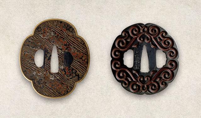 鍔(グリ彫り、木目金)